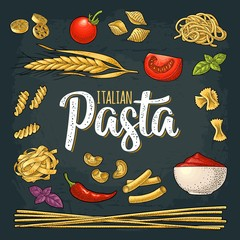 Different types macaroni and ITALIAN PASTA lettering. Vector engraving