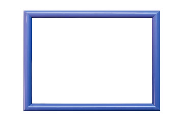 Blue plastic frame for photographs, portraits isolated on white background