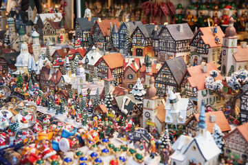 Close up of Christmas market stall in Vienna, Austria. Christmas decorations at a Christmas market. Merry christmas, cute festive decoration