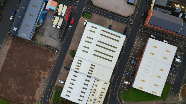 Aerial view of an industrial area with warehouses in the UK