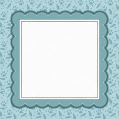 Teal and white cat pattern square border with copy space