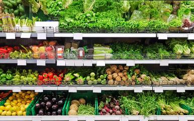 vegetables greengrocery in supermarket colors for food