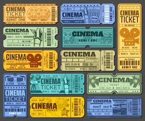 Cinema tickets for movie show or seance isolated