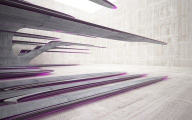 Empty dark abstract glass pink and concrete smooth interior. Architectural background. 3D illustration and rendering