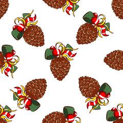Seamless Pattern Fir Cones