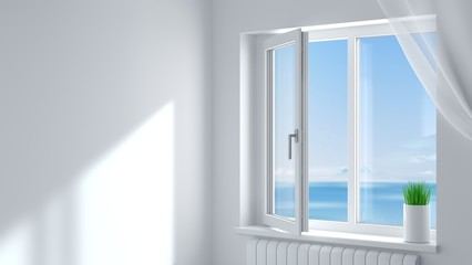 White plastic window in the room