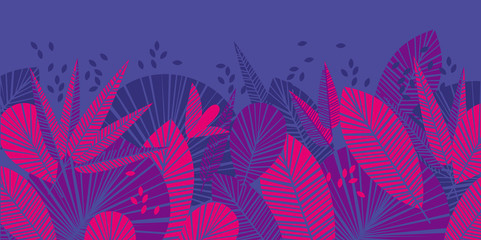 Tropical leaves color illustration - fototapety na wymiar