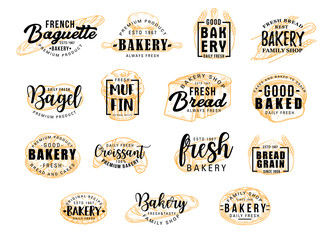Bread products icons with lettering. Bakery signs