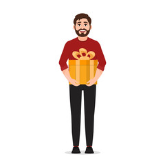 A man holding a gift box, happy man, vector illustration on white background