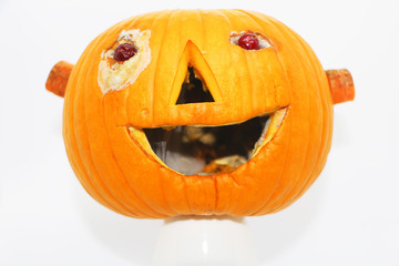 Halloween.pumpkin decorated for a healthy diet