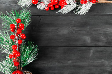 Christmas concept. Christmas fir tree with decoration on rustic vintage board. Pine branches. Fir cone. Snow on wood. Xmas and Happy New Year composition. Copy space. Empty space. Christmas background