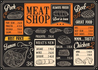Meat products menu of meat sketch on chalkboard