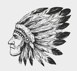 Sketch of native american man. Hand drawn sketch converted to vector