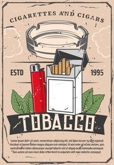 Tobacco and lighter or glass ashtray retro poster