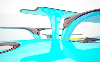 abstract architectural interior with colored smooth glass sculpture with brown lines. 3D illustration and rendering