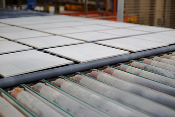 Production line with ceramic tiles