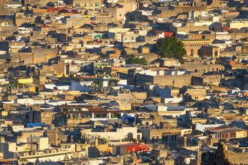 Aerial view of old Medina in Fes Morocco