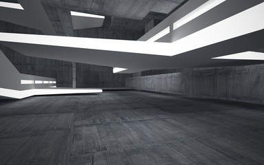 Empty dark abstract concrete room interior with white sculpture. Architectural background. Night view of the illuminated. 3D illustration and rendering
