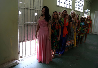 Garota TB beauty contest line up at the Talavera Bruce women prison in Rio de Janeiro