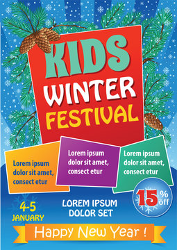 Kid Winter Festival Template with fir branches. Design template of holiday party invitation. Vector background