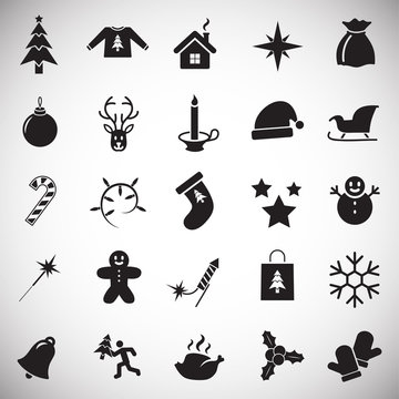 Christmas icons set on white background for graphic and web design, Modern simple vector sign. Internet concept. Trendy symbol for website design web button or mobile app