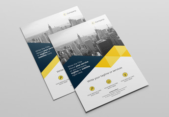 Business Brochure Layout with Blue and Yellow Elements