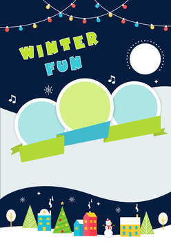 Christmas and Winter Holidays Poster. Festive Snow Landscape. Vector Illustration