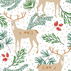 Christmas seamless pattern, white background. Forest deer animals, green pine twigs, berries, snow. Vector illustration. Nature design. Season greeting digital paper. Winter Xmas holidays