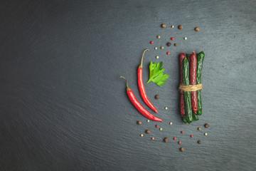 Kabanosy, sausages traditional polish and green with wasabi