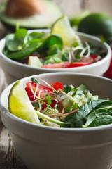 Fresh vegetables salad with avocado and quinoa