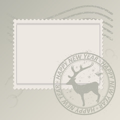 vector template Christmas postage stamp. smeared round clearing with a deer and inscriptions. traces of streaks on the paper.