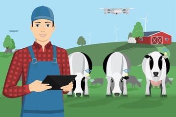 Modern farmer with digital tablet on a cattle grazing. Internet of things in cattle breeding. Vector illustration