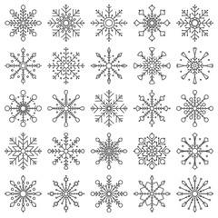 Set of 25 Snowflake Icons
