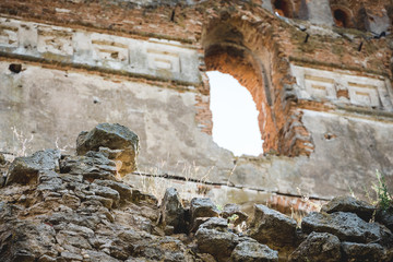 The ruins of an old medieval fortress. Tourist object_