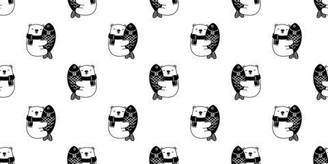 Bear seamless pattern vector polar bear hug fish salmon tuna cartoon illustration repeat wallpaper scarf isolated tile background