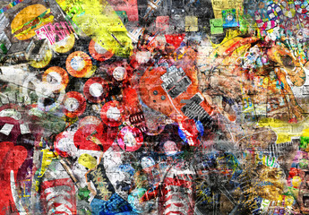 Collage in grunge style on a brick wall