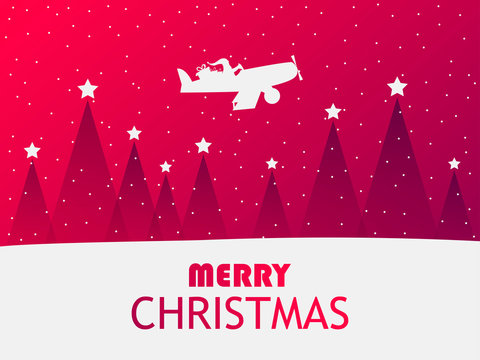 Santa Claus is flying in an airplane over a winter landscape with Christmas trees. Greeting card with falling snow. Red gradient. Vector illustration