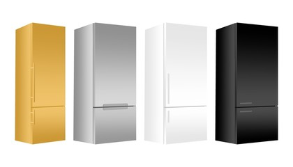 Set gold, silver, white, black refrigerator with freezer on white background. Modern 3d fridge with door. Home kitchen electrical appliance.
