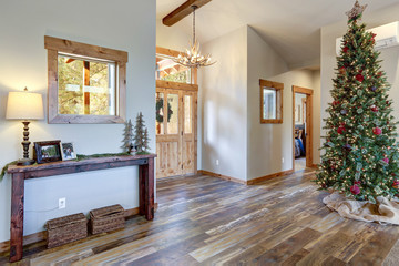 Nice spacious foyer with decorated Christmas tree.