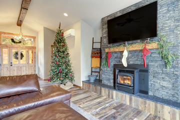 Nicely decorated home interior for Christmas.