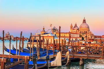 Gondolas in front of Santa Maria della Salute Church in Venice