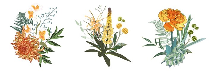 Tropical summer bouquet with herbs, leaves and exotic flowers. Orange and yellow flowers composition isolated on white background.