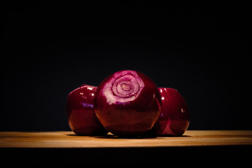 Pealed red onions