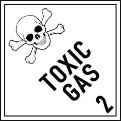 Danger sign White black, Toxic gas Class 2.3 - Toxic gas, with text, Text among each other