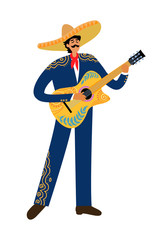 Isolated Flat cartoon of a mexican man playing guitar in sombrero on a white background, hand drawing doodles vector illustration