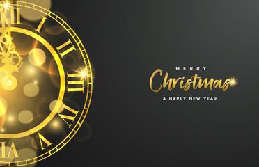 Wall Mural - Gold Christmas and New Year clock greeting card
