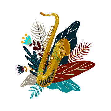 Isolated on white background saxophone and leaves with flowers. Decorative flat doodle element for design, vector illustration