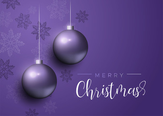 Wall Mural - Purple Christmas baubles luxury greeting card