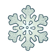 Snowflake. Vector vintage color engraving illustration. Isolated on white