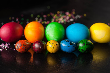 colorful quail and chicken Easter eggs